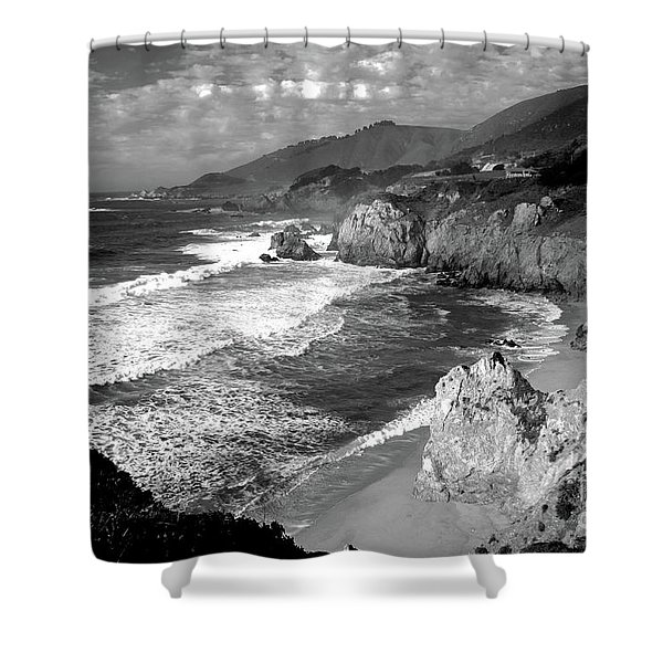 Black And White Big Sur Shower Curtain