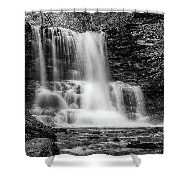 Black And White Photo Of Sheldon Reynolds Waterfalls Shower Curtain
