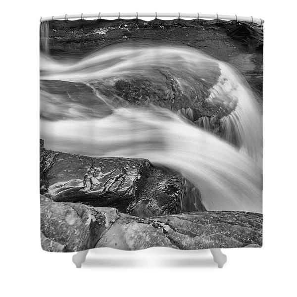 Black And White Rushing Water Shower Curtain