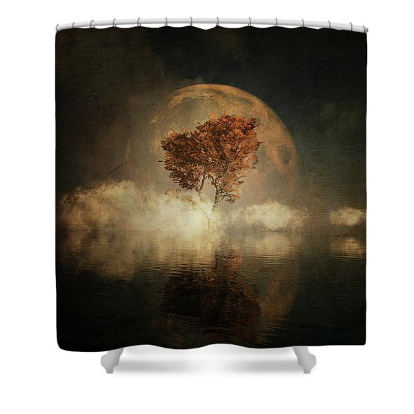 Shower Curtain featuring the digital art Black Ash With Full Moon In The Mist by Jan Keteleer