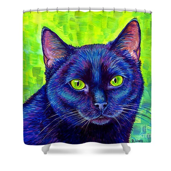 Black Cat With Chartreuse Eyes Shower Curtain