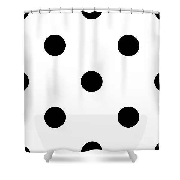 Black Dots On A White Background- Ddh610 Shower Curtain