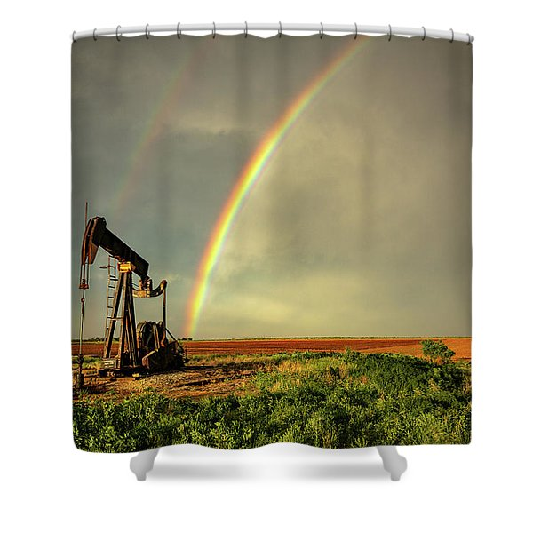 Black Gold - Rainbow Ends At Pump Jack On Texas Plains Shower Curtain