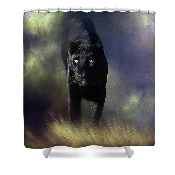 Black Leopard In The Grass Shower Curtain