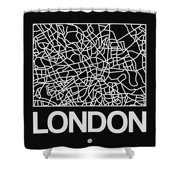 Black Map Of London Shower Curtain