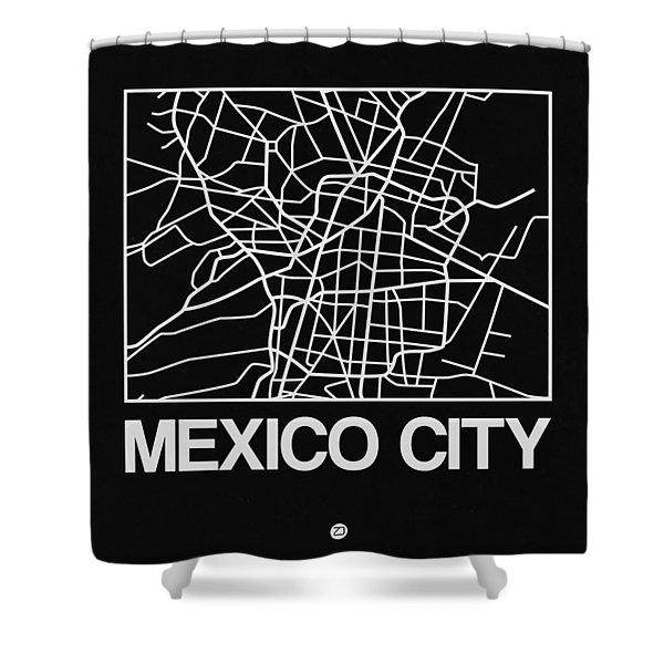 Black Map Of Mexico City Shower Curtain