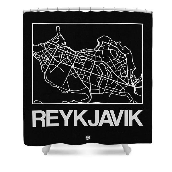 Black Map Of Reykjavik Shower Curtain