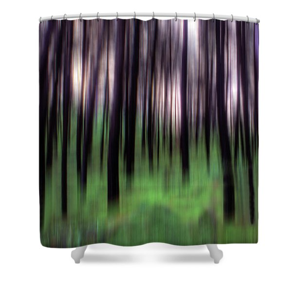 Black Pines In A Green Wood Shower Curtain