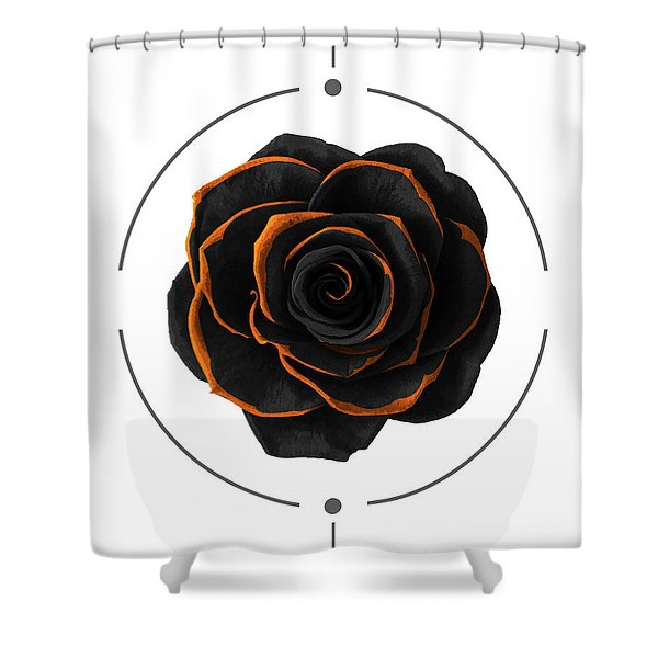 Black Rose - Black And Gold Rose - Death - Minimal Black And Gold Decor - Dark Shower Curtain
