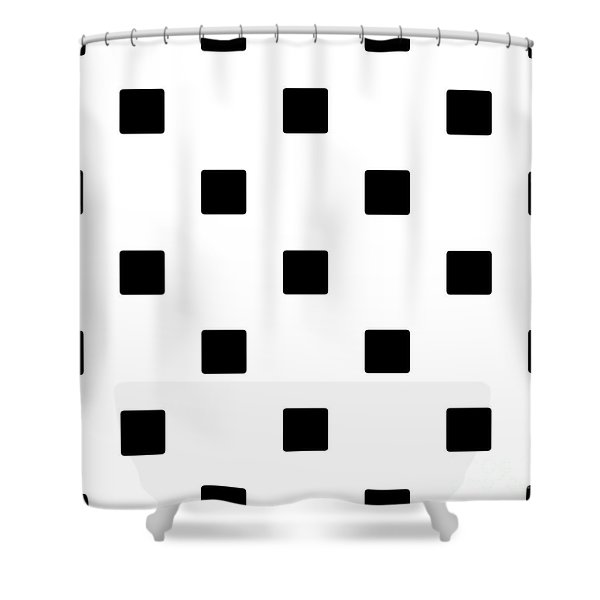 Black Squares On A White Background- Ddh574 Shower Curtain