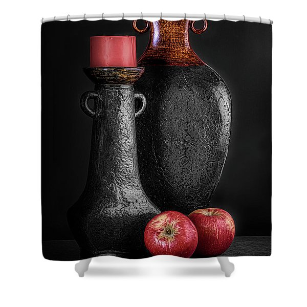 Black Vase With Red Apples Shower Curtain