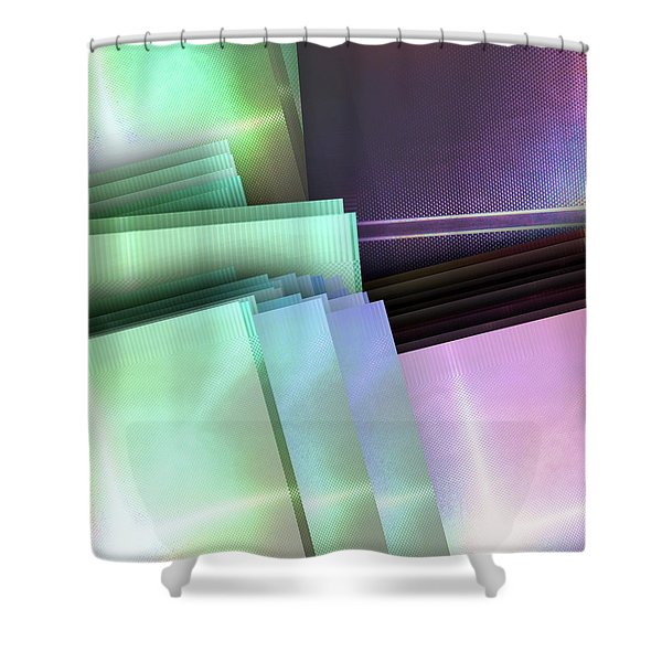 Blank Reflective Aluminum Plates. Blue, Pink And Purple. Fashion Abstract Background. Shower Curtain