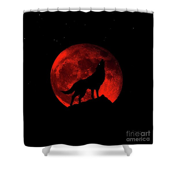 Blood Red Wolf Supermoon Eclipse 873l Shower Curtain