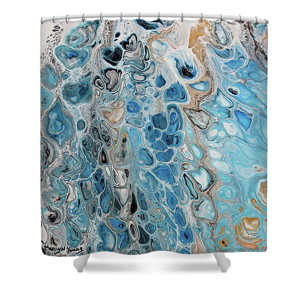 Blue And Gold Patterns Shower Curtain