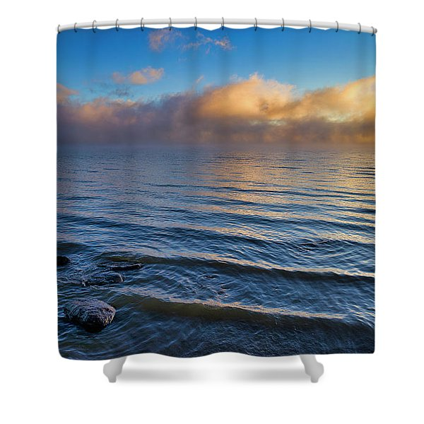Shower Curtain featuring the photograph Blue And Gold by Tom Gresham