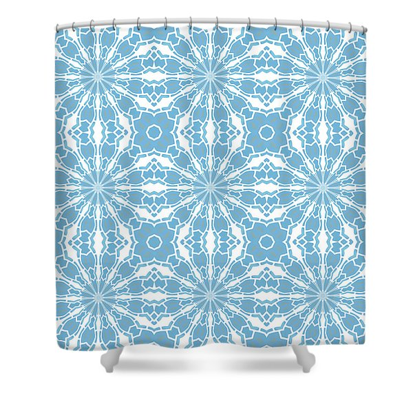 Blue And White Tile Kaleidoscope Shower Curtain