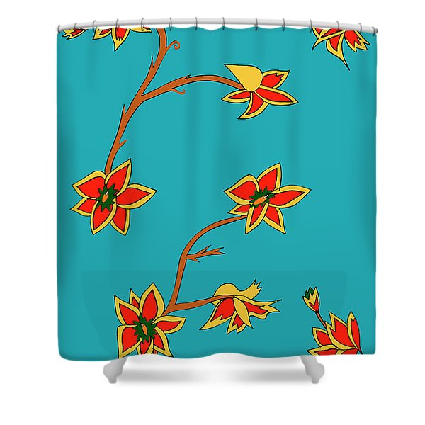 Blue Background Flowers Shower Curtain