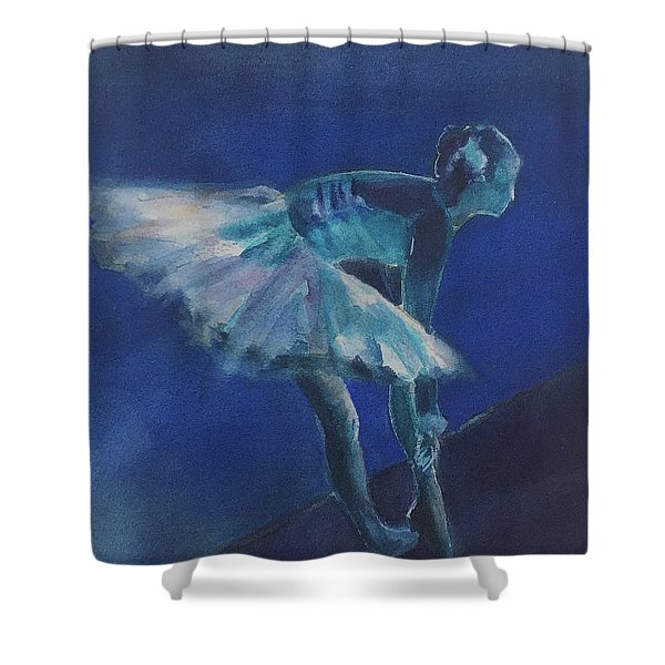 Blue Ballerina Shower Curtain