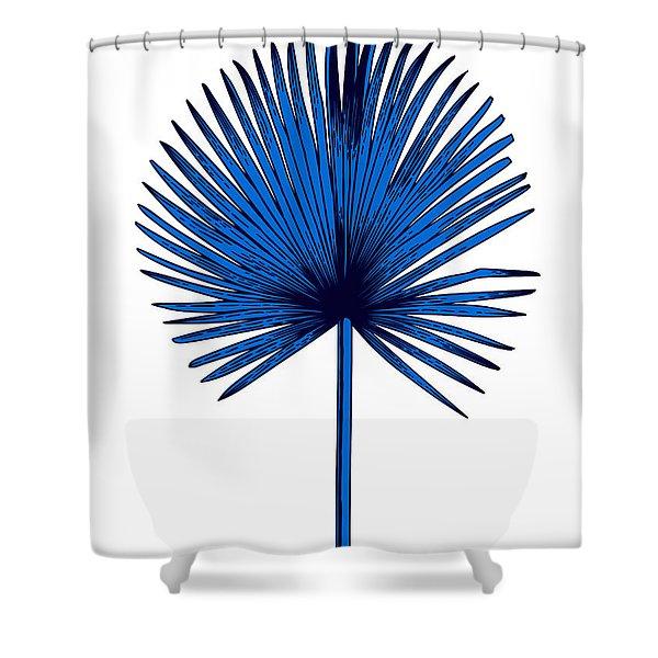 Blue Chamaerops Leaf Shower Curtain