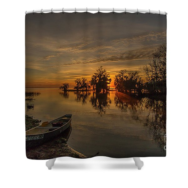 Shower Curtain featuring the photograph Blue Cypress Canoe by Tom Claud