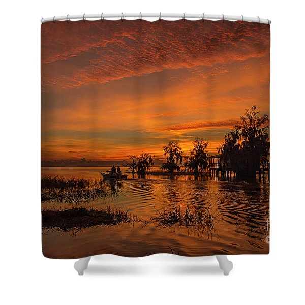 Shower Curtain featuring the photograph Blue Cypress Sunrise With Boat by Tom Claud