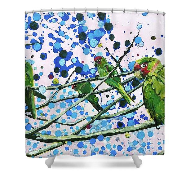 Blue Dot Parakeets Shower Curtain