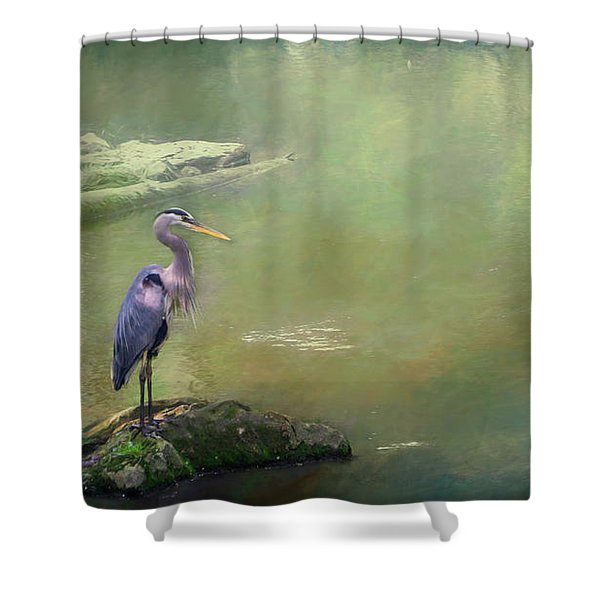 Blue Heron Isolated Shower Curtain