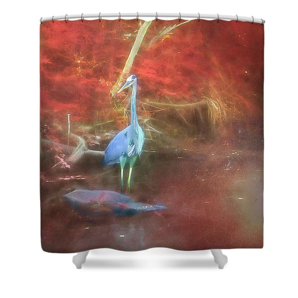 Blue Heron Red Background Shower Curtain