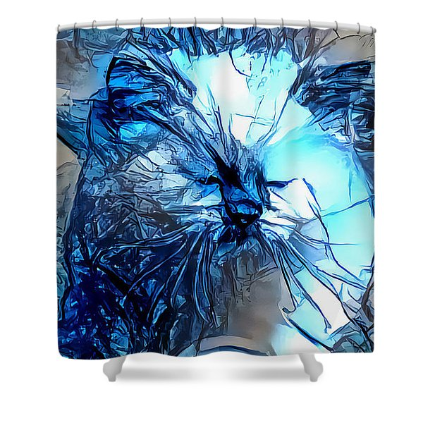 Blue Himmy Cat Shower Curtain