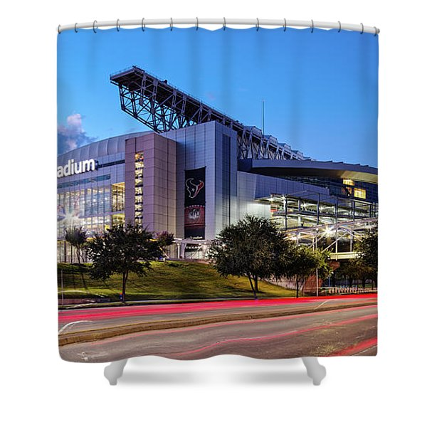 Blue Hour Photograph Of Nrg Stadium - Home Of The Houston Texans - Houston Texas Shower Curtain