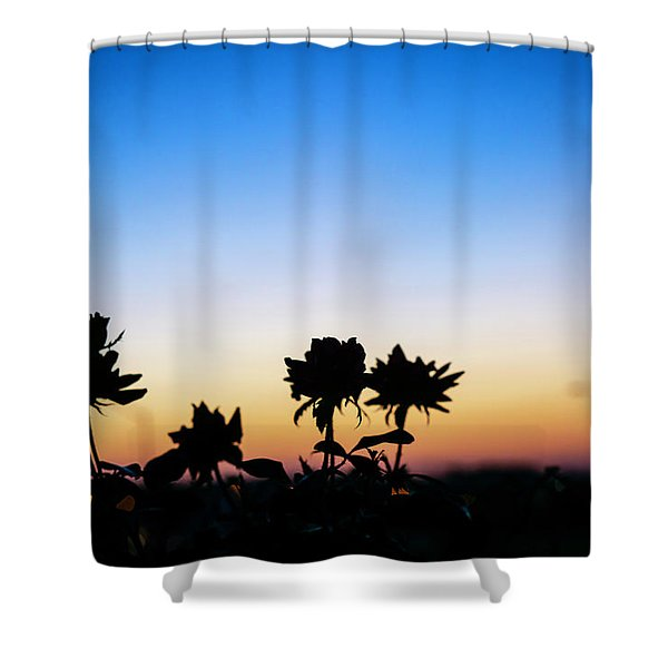 Blue Hour Sunset With Flowers Shower Curtain
