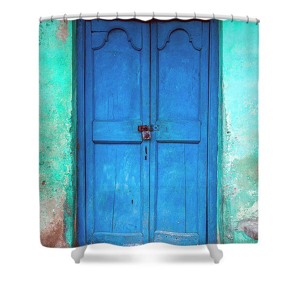 Blue Indian Door Shower Curtain