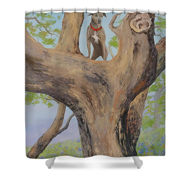 Blue Lacey In A Tree Shower Curtain