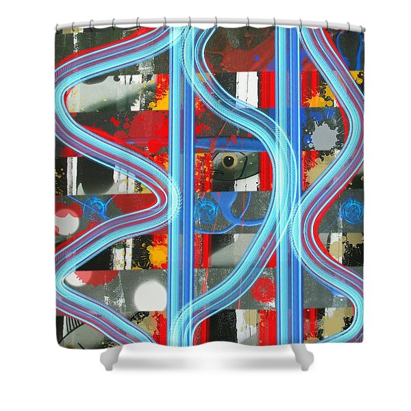 Blue Meet Red Black And White Fish Shower Curtain
