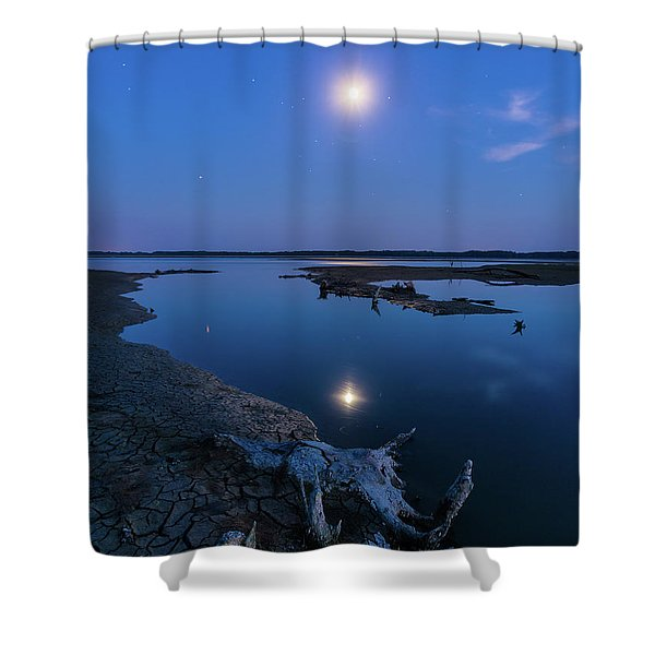 Blue Moonlight Shower Curtain