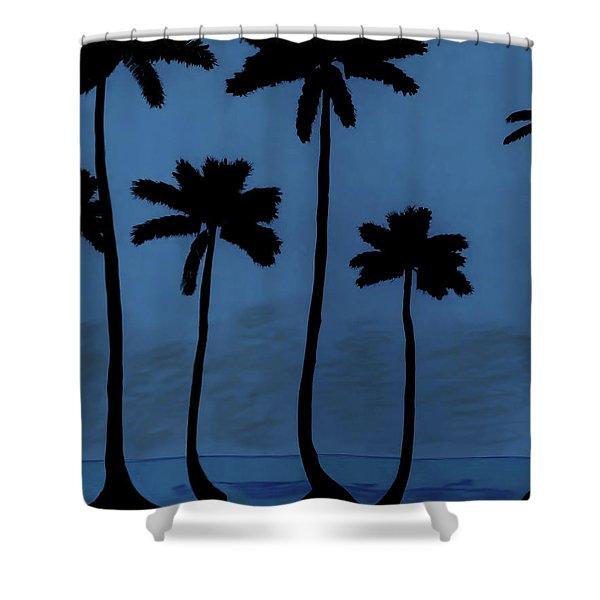Blue - Night - Beach Shower Curtain