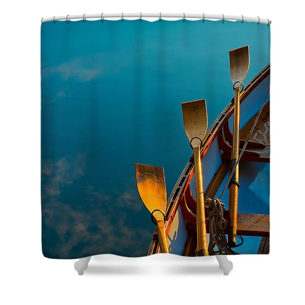 Shower Curtain featuring the photograph Blue Oars by Tom Gresham