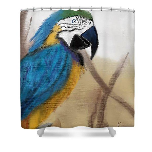 Shower Curtain featuring the digital art Blue Parrot by Fe Jones
