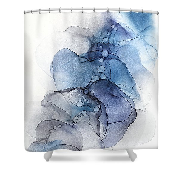 Blue Petal Dots Whispy Abstract Painting Shower Curtain