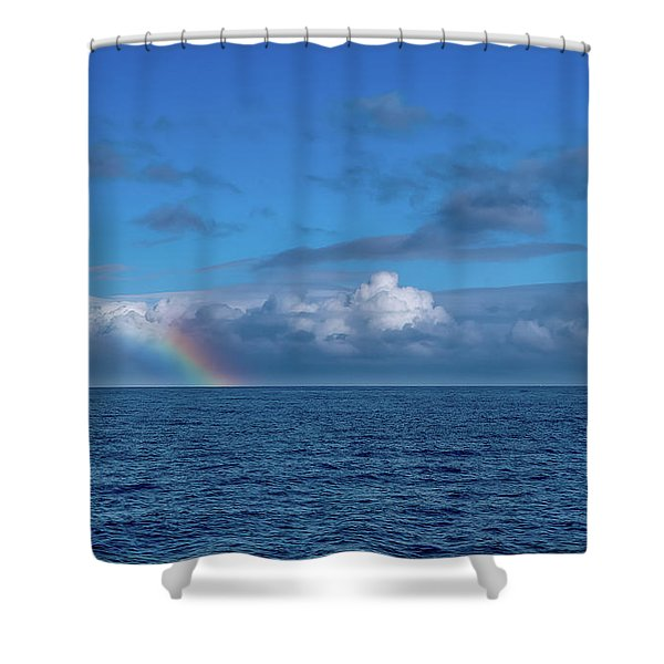 Blue Rainbow Horizon Shower Curtain
