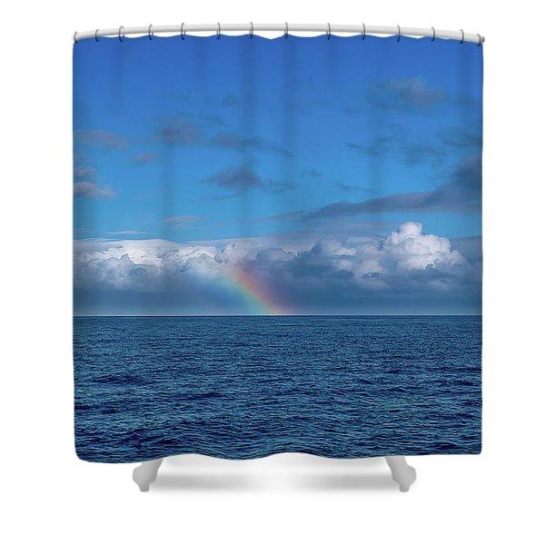 Blue Rainbow Horizon Shower Curtain
