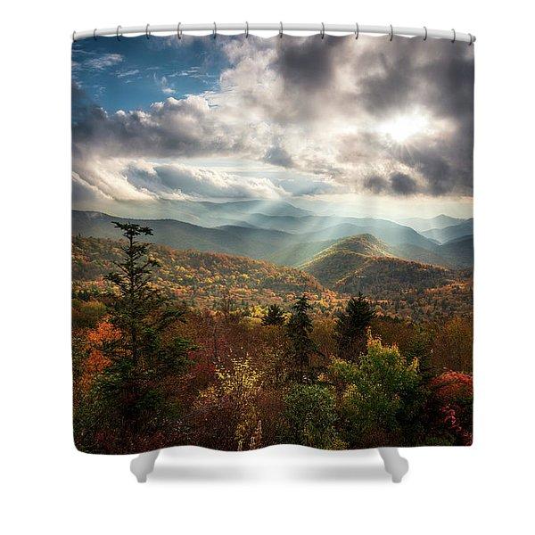 Blue Ridge Mountains Asheville Nc Scenic Autumn Landscape Photography Shower Curtain