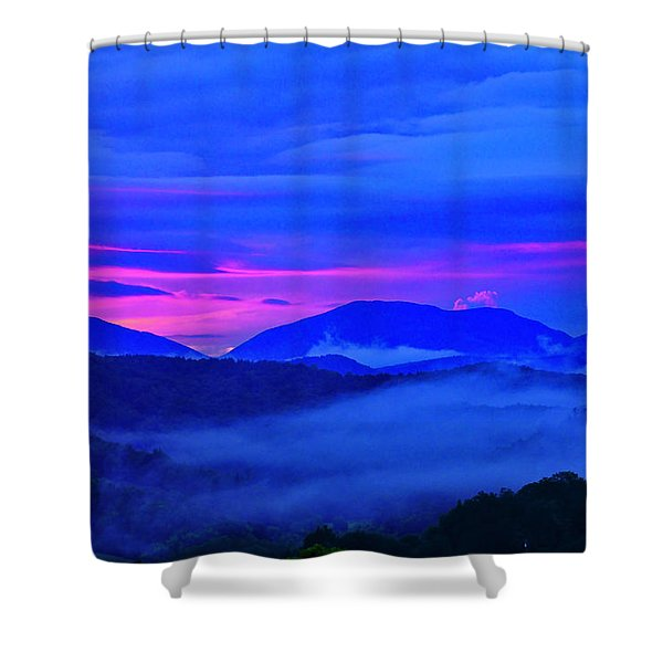 Shower Curtain featuring the photograph Blue Ridge Sunset by Meta Gatschenberger