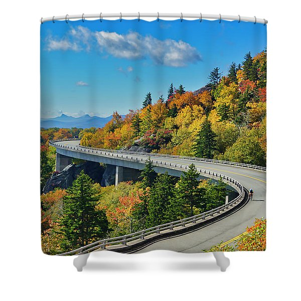 Shower Curtain featuring the photograph Blue Ridge Parkway Viaduct by Meta Gatschenberger