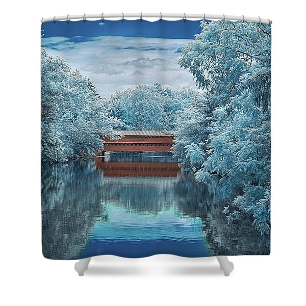 Blue Sach's Shower Curtain