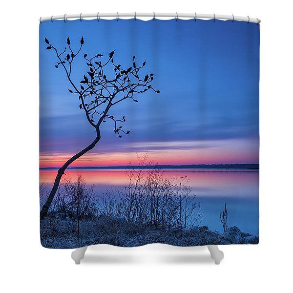 Blue Silence Shower Curtain