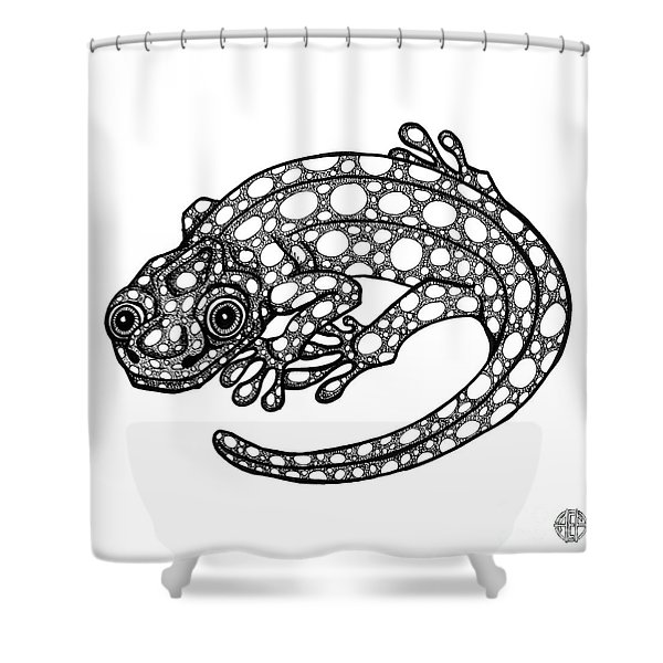 Blue Spotted Salamander Shower Curtain