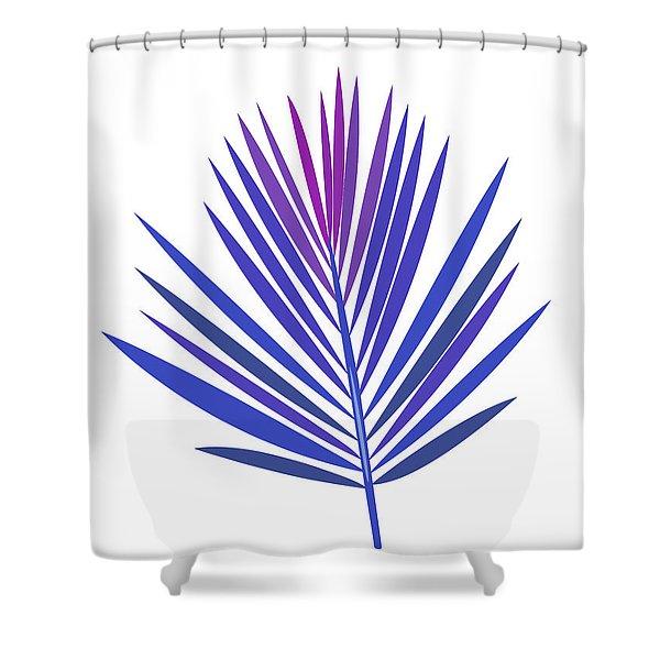Blue Tropical Leaf I Shower Curtain