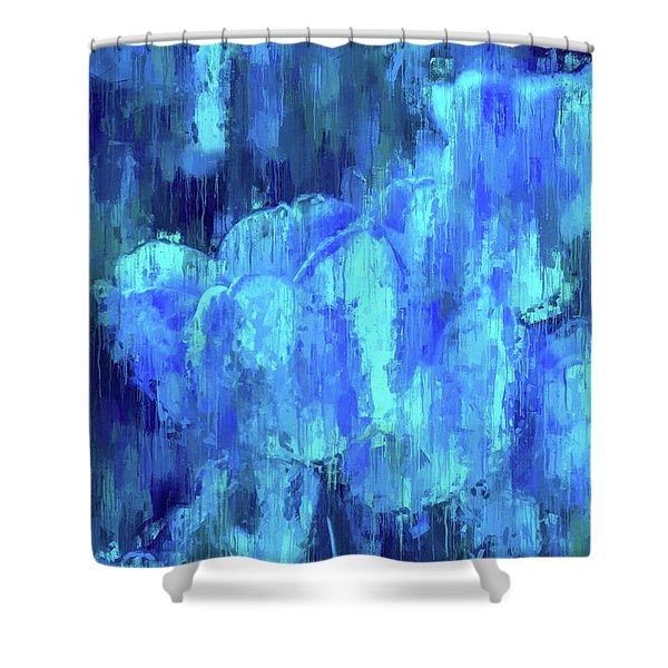 Blue Tulips On A Rainy Day Shower Curtain