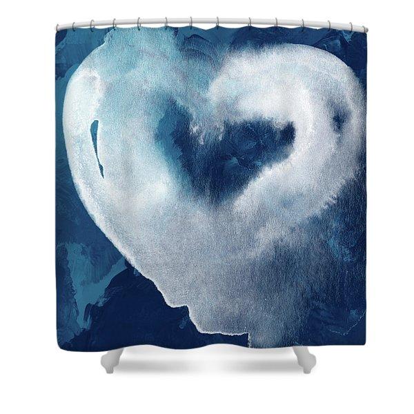 Blue Valentine- Art By Linda Woods Shower Curtain